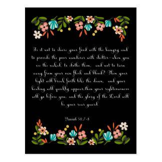La biblia versifica el arte - 58:7 de Isaías - 8 Tarjeta Postal