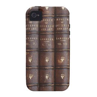 La biblioteca de cuero del vintage reserva en el i iPhone 4/4S carcasa