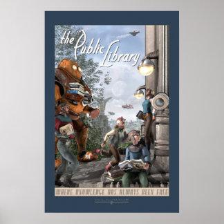 """La biblioteca pública - el panel dejado (20x30"""") póster"""