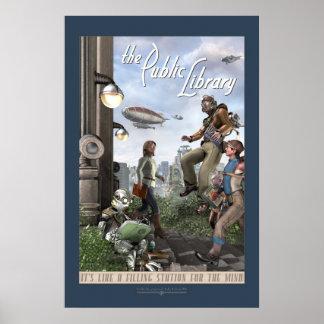 """La biblioteca pública - el panel derecho (20x30"""") póster"""