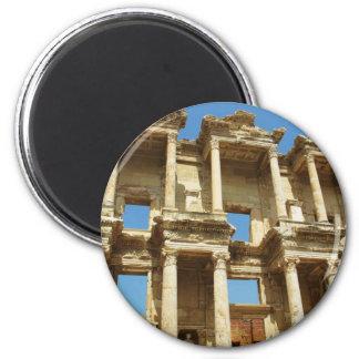 La biblioteca romana de Celsus, Ephesus, Turquía Imán Redondo 5 Cm
