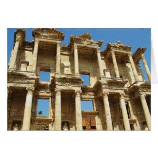La biblioteca romana de Celsus, Ephesus, Turquía Tarjeta De Felicitación