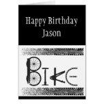 La bici de encargo de la pintada del cumpleaños tarjeta de felicitación