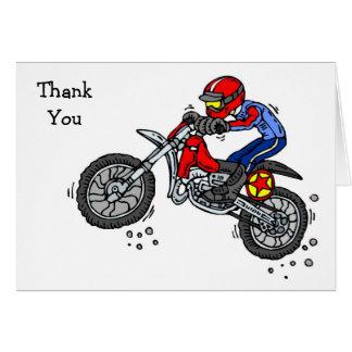 La bici de la suciedad del motocrós le agradece la tarjeta pequeña