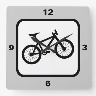 La bici de montaña se divierte tema reloj cuadrado