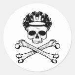 La bici o muere - bici y bandera pirata etiqueta