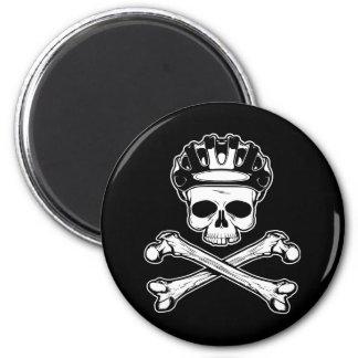 La bici o muere - bici y bandera pirata imán redondo 5 cm