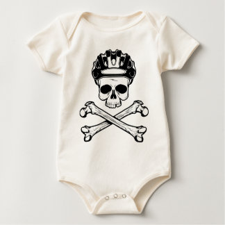 La bici o muere - bici y bandera pirata mamelucos de bebé