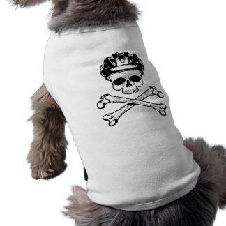La bici o muere - bici y bandera pirata playera sin mangas para perro