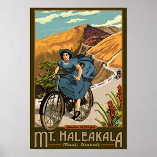 La bicicleta del Mt. Haleakala monta Hawaii Póster
