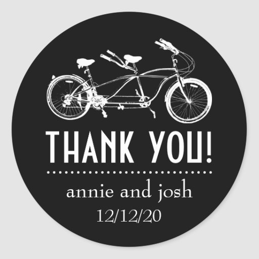 La bicicleta para dos le agradece las etiquetas pegatina redonda