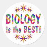 La biología es el mejor pegatina redonda