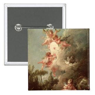 La blanco del Cupid, 'de DES Dieux de los amoríos  Pin Cuadrado