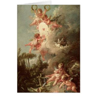 La blanco del Cupid, 'de DES Dieux de los amoríos  Tarjeta De Felicitación