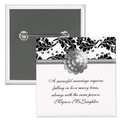 La boda blanco y negro del damasco cita el botón pins