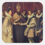La boda de Catherine de Medici Pegatinas Cuadradas Personalizadas