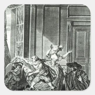 La boda de Figaro Calcomanías Cuadradas
