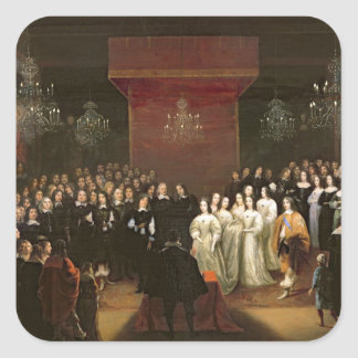 La boda de Frederick Guillermo Pegatina Cuadradas Personalizada