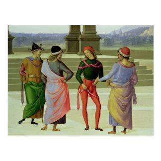 La boda de la Virgen, detalle de cuatro hombres Postal