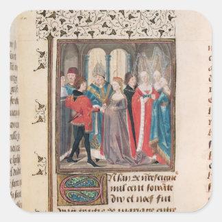 La boda del rey de Felipe Auguste de Francia Pegatina Cuadrada