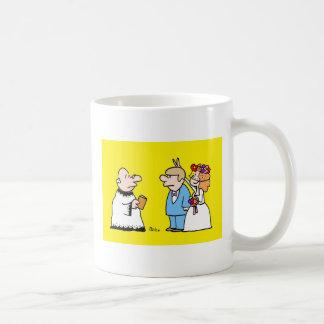 la boda es oídos de la cosa de un conejo divertido tazas de café