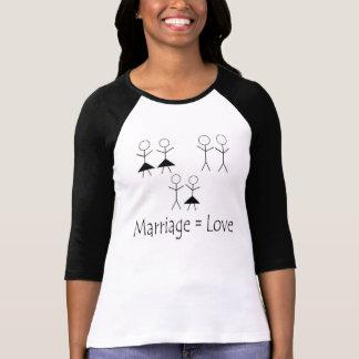 La boda iguala el amor, camiseta del raglán, poleras
