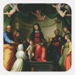 La boda mística de St. Catherine de Siena con Pegatina Cuadrada