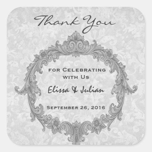 La bodas de plata Curlicue le agradece que casa Pegatina Cuadrada