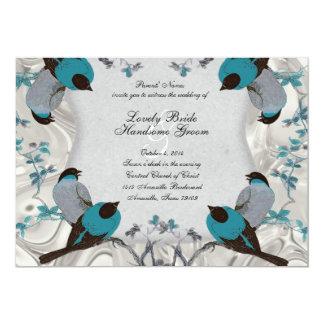 La bodas de plata del Birdbath azul de los pájaros Invitacion Personalizada
