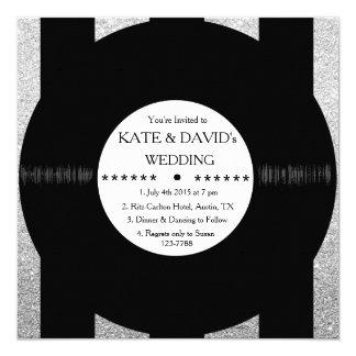 """La bodas de plata elegante del disco de vinilo invitación 5.25"""" x 5.25"""""""