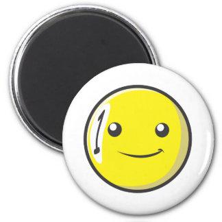 La bola de billar sonriente numera uno iman de frigorífico