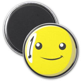 La bola de billar sonriente numera uno imán de nevera