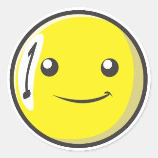 La bola de billar sonriente numera uno pegatinas redondas