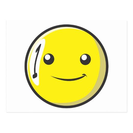 La bola de billar sonriente numera uno tarjetas postales