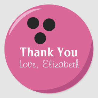 La bola de bolos rosada personalizada le agradece pegatina redonda