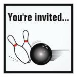 La bola de bolos y el fiesta del Después-Juego de Invitaciones Personalizada