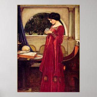 """La bola de cristal"" por John William Waterhouse Póster"