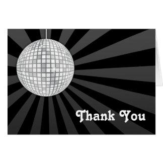 La bola de discoteca de plata le agradece observar tarjeta pequeña