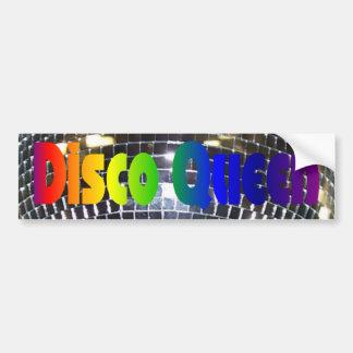 La bola de discoteca retra refleja a la reina del  pegatina para auto