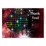 La bola de discoteca roja le agradece las tarjetas