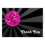 La bola de discoteca rosada le agradece observar tarjetas
