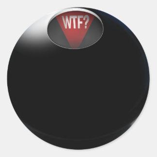 """¿La bola de la magia 8 dice, """"WTF? """" Pegatina Redonda"""