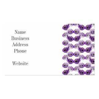 La bola de mascarada púrpura bonita enmascara tarjetas de visita