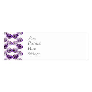 La bola de mascarada púrpura bonita enmascara tarjetas de visita mini