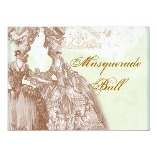 """La bola, el trullo y el oro de mascarada invitación 5.5"""" x 7.5"""""""
