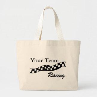 La bolsa de asas a cuadros del equipo de la raza d