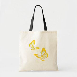 La bolsa de asas amarilla de dos mariposas
