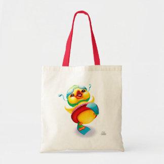 La bolsa de asas amarilla feliz del pato