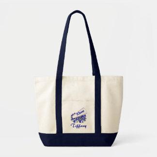 La bolsa de asas azul de la animadora