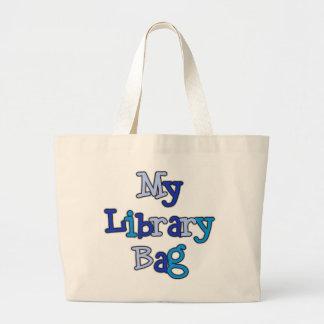 La bolsa de asas azul del bolso de la biblioteca d